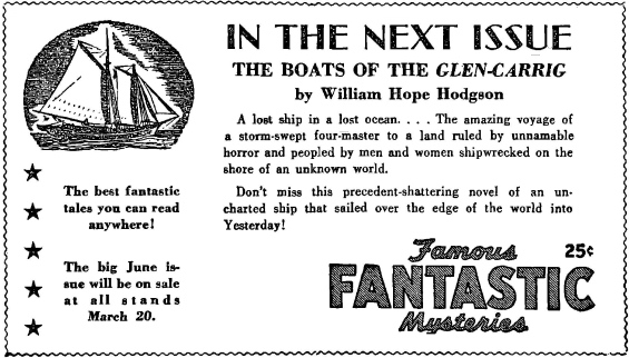 ad for The Boats Of The Glen Carrig from Famous Fantastic Mysteries, March 1945