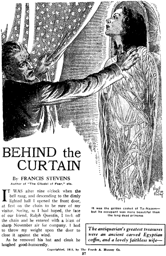 Behind The Curtain by Francis Stevens - Illustration by Virgil Finlay