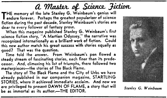 Dawn Of Flame by Stanley G. Weinbaum - Thrilling Wonder Stories, June 1939