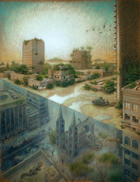 Gustavo Sanabria Illustration of the lagoon from The Drowned World by J.G. Ballard