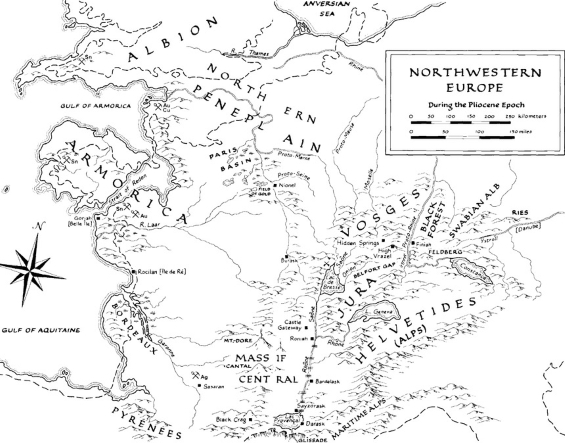 Map of Northwestern Europe during the Pliocine epoch