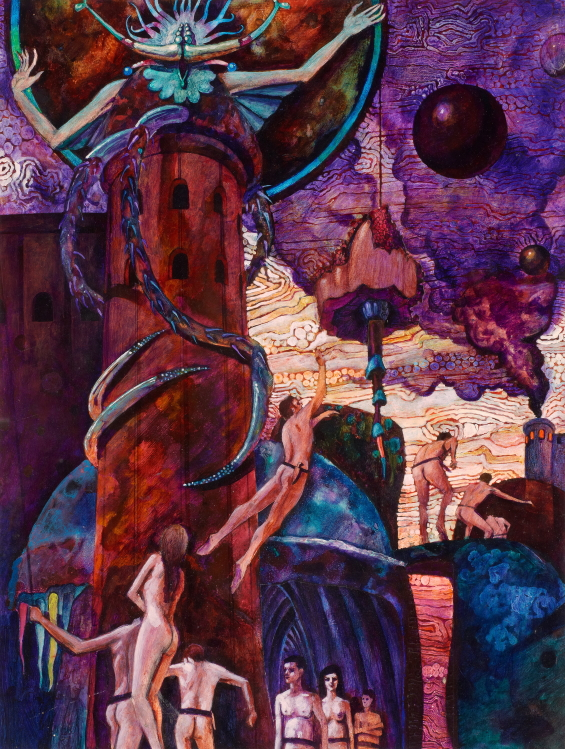 Of Men And Monsters by William Tenn, 1968 paperback illustration by Stephen Miller