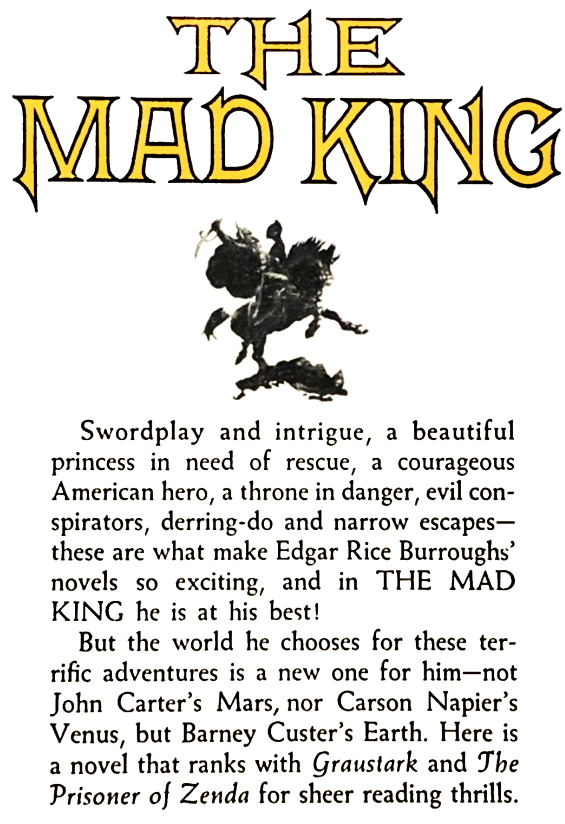 The Mad King (BACK OF THE PAPERBACK)